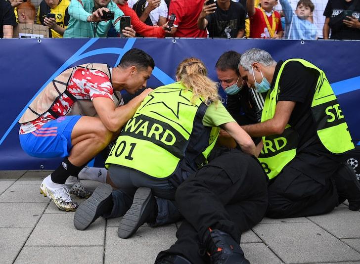 رونالدو, كريستيانو رونالدو يتسبب في اصابة, كريستيانو رونالدو, كريستيانو, حارسة أمن, Cristiano Ronaldo Shot Injures Security Guard