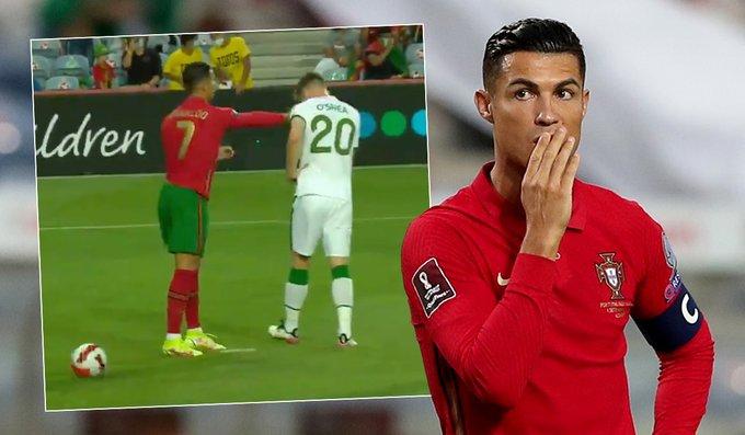 كريستيانو رونالدو يصفع دارا أوشي, كريستيانو رونالدو يضرب دارا أوشي, كريستيانو رونالدو يضرب لاعب المنتخب الإيرلندي, Cristiano Ronaldo slaps, Cristiano Ronaldo slaps Ireland's Dara O'Shea