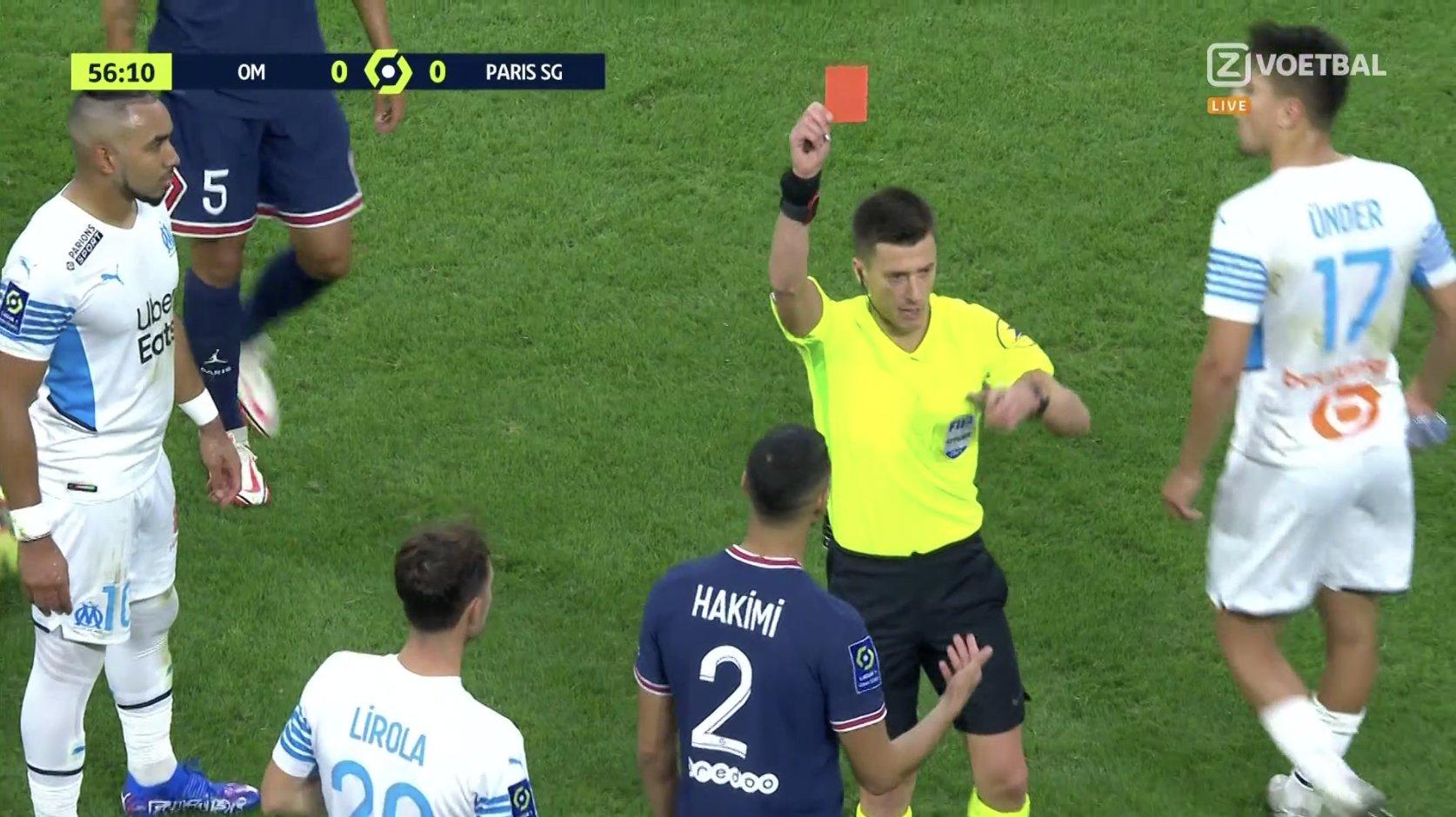 طرد أشرف حكيمي في مباراة باريس سان جيرمان أمام أولمبيك مرسيليا, اللاعب أشرف حكيمي, achraf hakimi , psg vs om